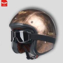 LDMET cuoio DELL'UNITÀ di ELABORAZIONE harley casco moto vintage moto rcycle casco capacetes de moto ciclista punk cafe racer viso aperto camouflage