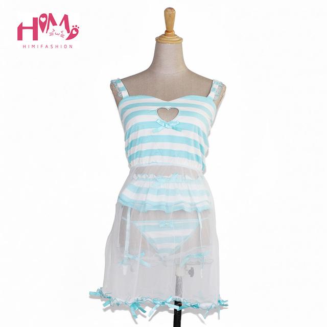 Amor bonito Cut-Out Oco Fora Lingerie Sexy Pijama Rosa Modal Vestido + Calça + Lace Garter Perna Anel Azul Tarja Mulheres Homewear