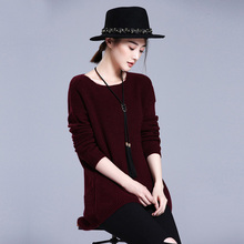 4 colors 100% cashmere women's pullovers O-neck full sleeve sweaters winter/autumn/spring asymmetry clothing
