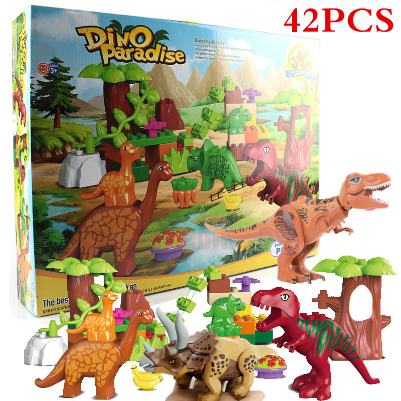 42Pcs/Lot Jurassic Park Dino Valley Building Blocks Sets Large Particles Duplo Animals Dinosaur World Model Toys Bricks BKX77