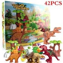 42Pcs/Lot Jurassic Park Dino Valley Building Blocks Sets Large Particles Duplo Animals Dinosaur World Model Toys Bricks  BKX77