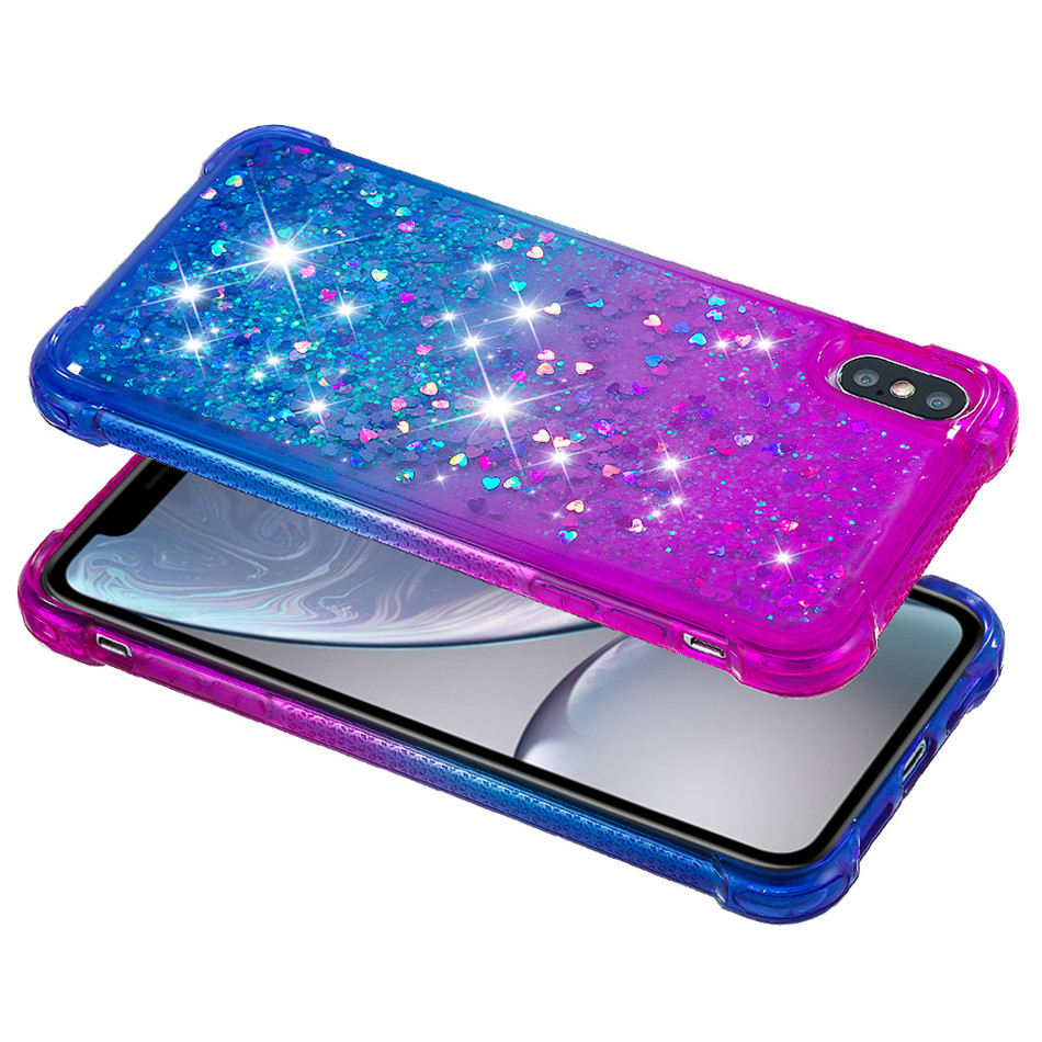 Luxury Sequins Glitter Quicksand Phone Case for Apple iPhone XS MAX XR 6S 6 7 8 Plus Capa Silicone TPU Gradient Back Cover P03E in Half wrapped Cases from Cellphones Telecommunications