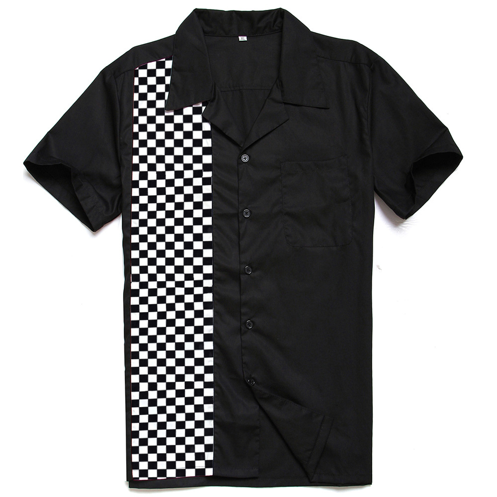 Hot Offer] Fashion Mosaic Printed Men's Cotton Casual Black White