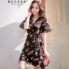 цена на Dabuwawa Summer New V-Neck Print Midi Dress Ruffle Hem Wrap Dress Women Fashion Sexy Short Sleeve Vacation Dresses D18BDR186