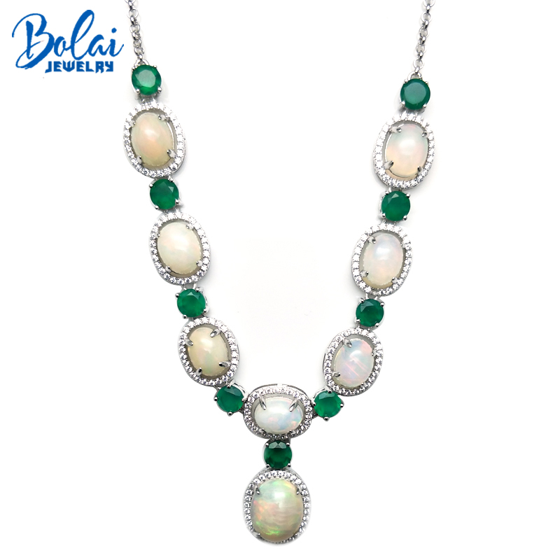 Bolaijewelry,luxury Elegant Party Necklace Natural Ethiopia Opal And Green Agate 925 Silver Sterling Silver Fine Jewelry As Gift