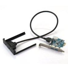 YOC Горячая PCI Express PCI-E Карты 2 Портовый Концентратор Адаптер + USB 3.0 на Передней Панели 5 Гбит Привет-Speed