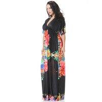 2017 Bohemian Women Summer Beach Dress V Neck Batwing Sleeve Floor Length Long Maxi Dress For