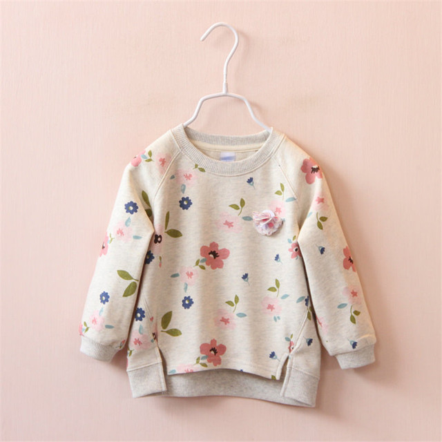 2017 Autumn winter Elegant flowers round collar thickening private label fleece backing warm T-shirt unlined upper garment