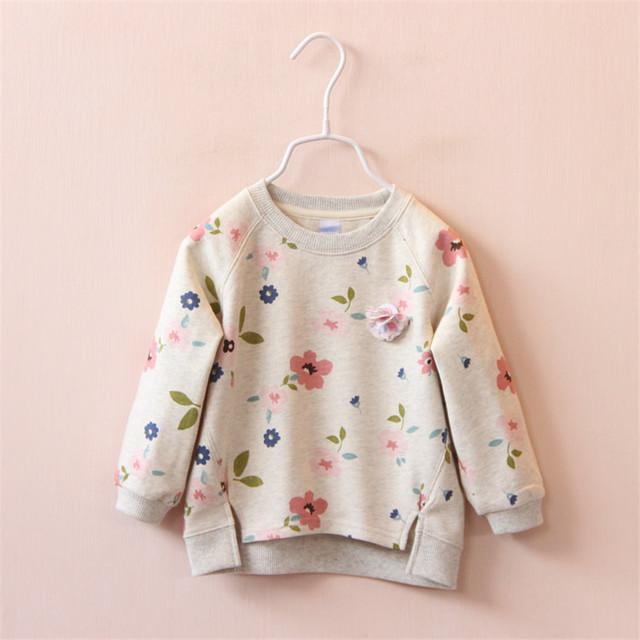 2017 Outono inverno Elegante flores gola redonda espessamento private label T-shirt vestuário superior sem forro de forro de lã quente