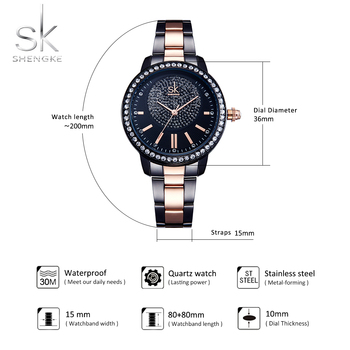 Shengke Rose Gold Women Female Crystal Luxury Quartz Wrist Watches 5