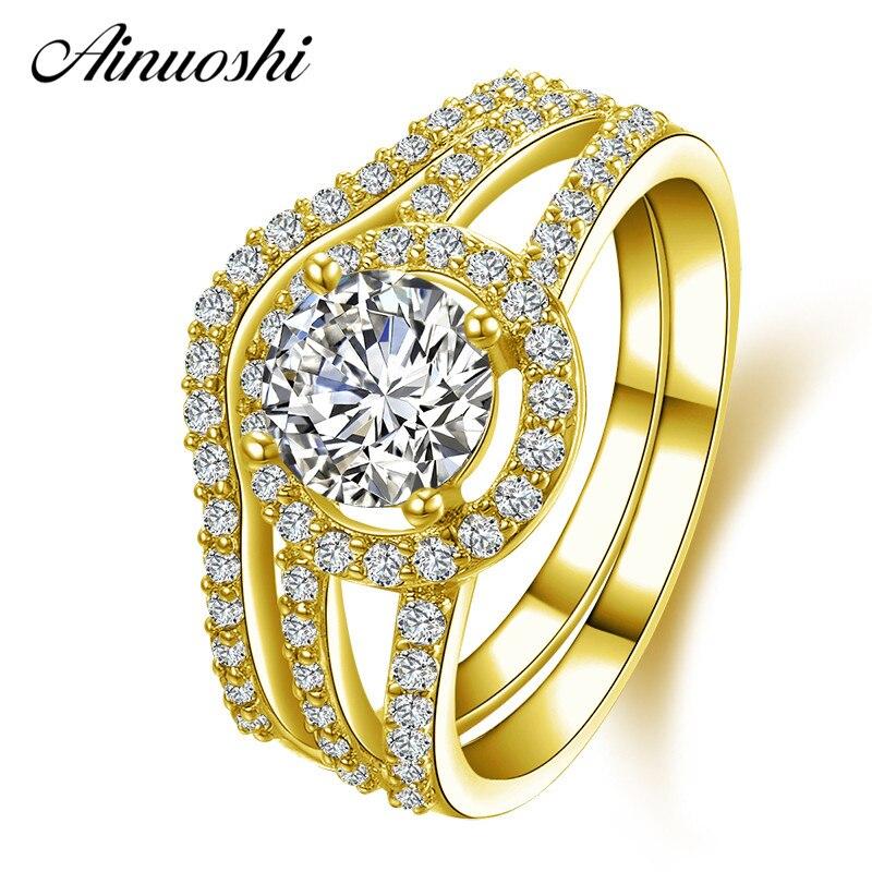 AINUOSHI 14 K массивная, желтая, Золотая женские обручальные кольца, набор 1 ct, круглая имитация бриллианта, Halo anillos Bijoux Femme, обручальное кольцо