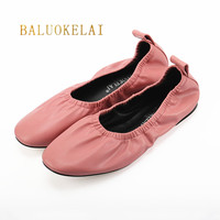 Flats Women Shoes Fashion Comfort Round Toe Leather Ballerina Foldable Ballet Flats Brand Casual Shoes Size US4 US9, K 084