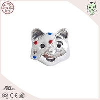 Good Quality Summer Collection Enamel Cute Animal Design 925 Real Silver Cat Charm Fitting European Famous Brand Silver Bracelet
