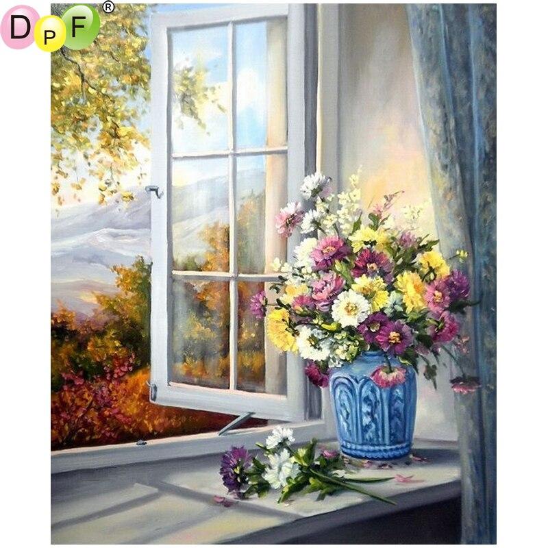 Paint Window Sill Interior: DPF DIY Window Sill Flowers 5D Diamond Mosaic Kit Full