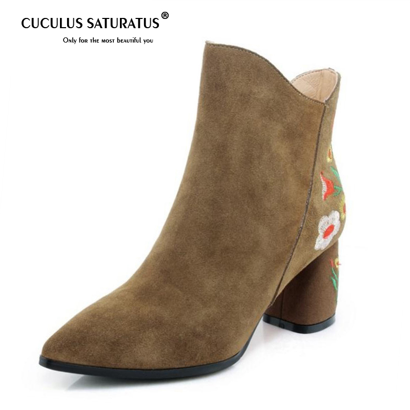 Cuculus 2018 Woman Ankle Boots Genuine Leather Embroidery Flower Winter Shoes Women Zipper Pointed Toe High Heels Boots 1191 2018 autumn winter women shoes ankle boots genuine leather pointed toe high heels embroidery black runways shoes tenis feminino