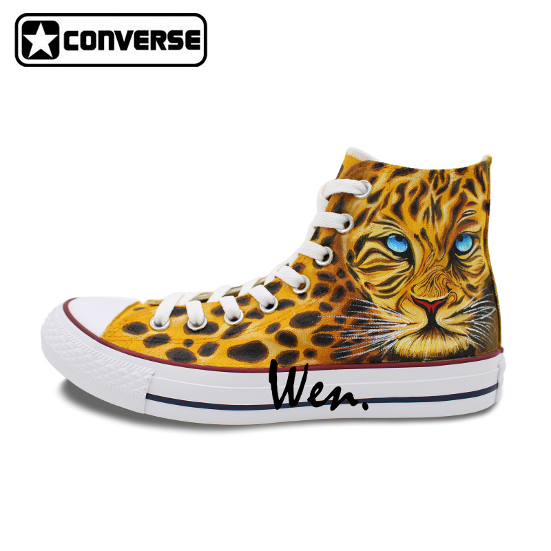 Men Women Shoes Converse All Star Leopard Print Original Design Hand Painted Shoes Boys Girls Sneakers Man Woman Christmas Gifts  classic original converse all star minim musical note design hand painted shoes man woman sneakers men women christmas gifts