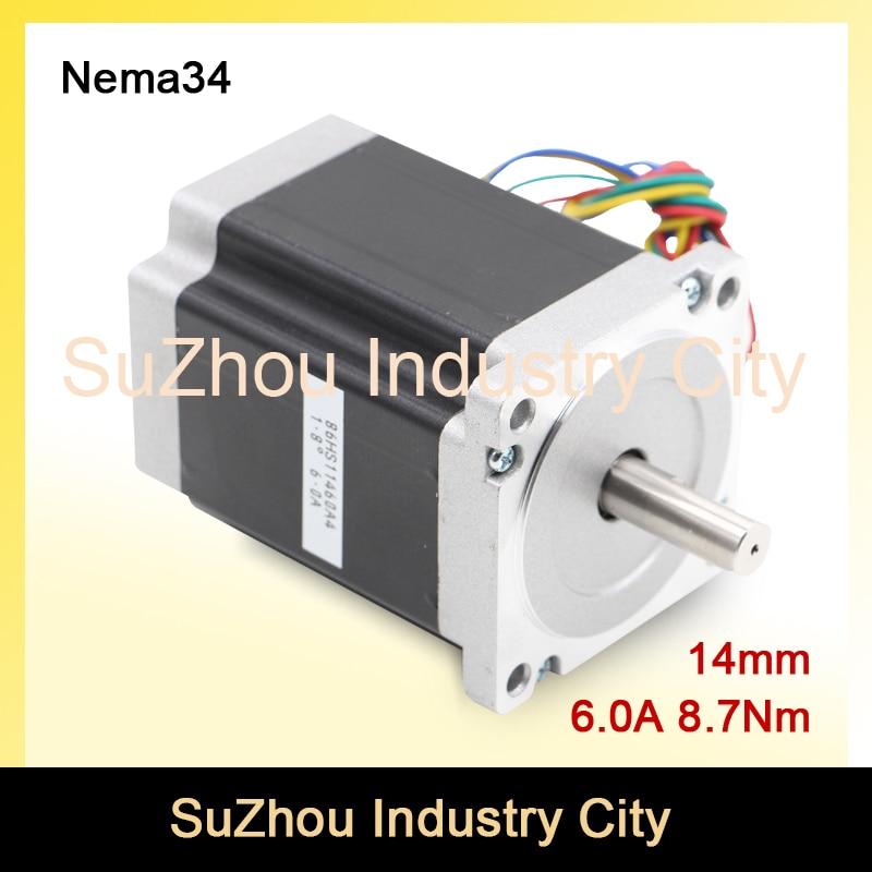 CNC NEMA 34 stepper motor 86X114mm 8.7 N.m 6A nema34 shaft 14mm stepping motor 1172Oz-in for CNC engraving machine, 3D printer! china stepper motor nema34 12nm 1714oz in 2 phase 4 2a d 15 87 86hs120 for cnc engraving machine