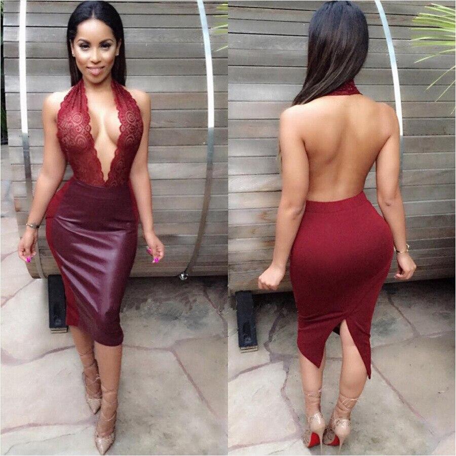 2018 Women Sexy PU Leather Dress Bodycon Lace Patchwork Halter Deep V-Neck Sleeveless Backless Split Dresss Party Club Dresses