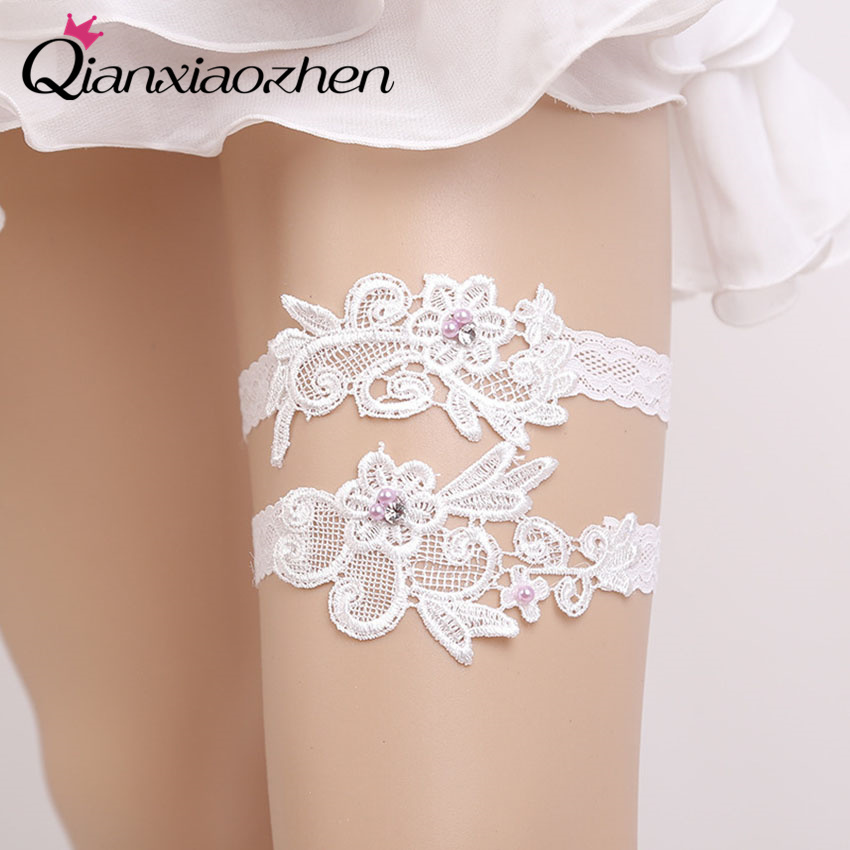 Qianxiaozhen 2pcs/set Flower Lace Leg Wedding Garter