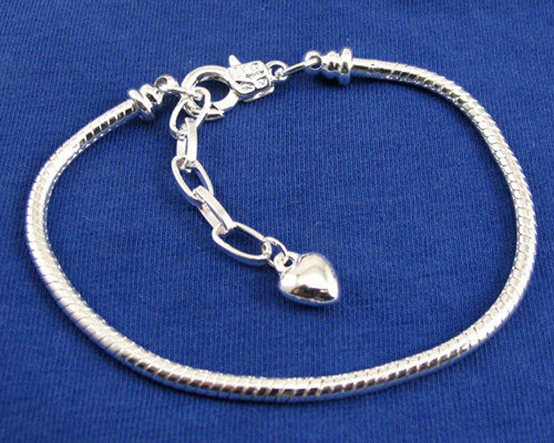 Costume Jewellery Nice New Silver 20cm Lobster Heart Clasp Charm Bead Snake Chain European Bracelet Fashionable Patterns Jewellery & Watches