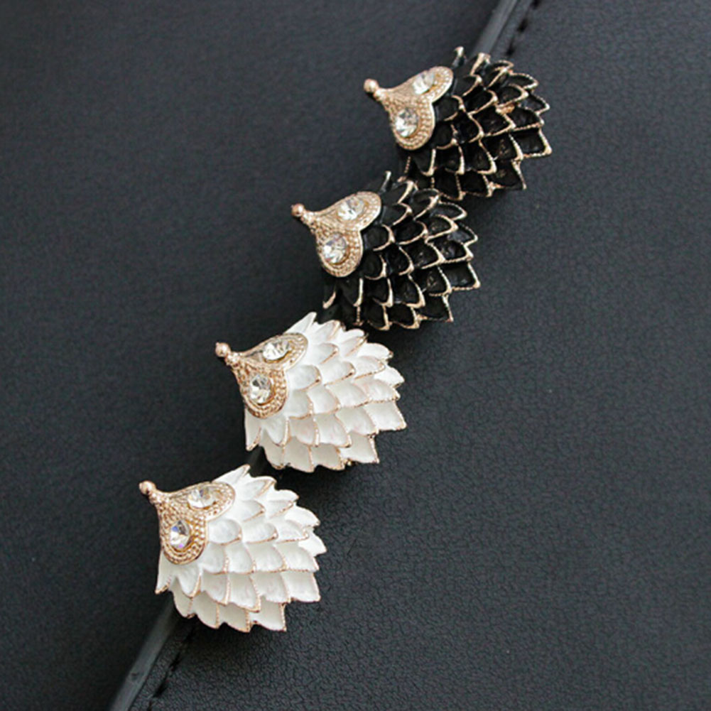 Hot Sale Cute Women Hedgehog Shape Ear Stud Earrings Fashion Jewelry Delicate Black And White