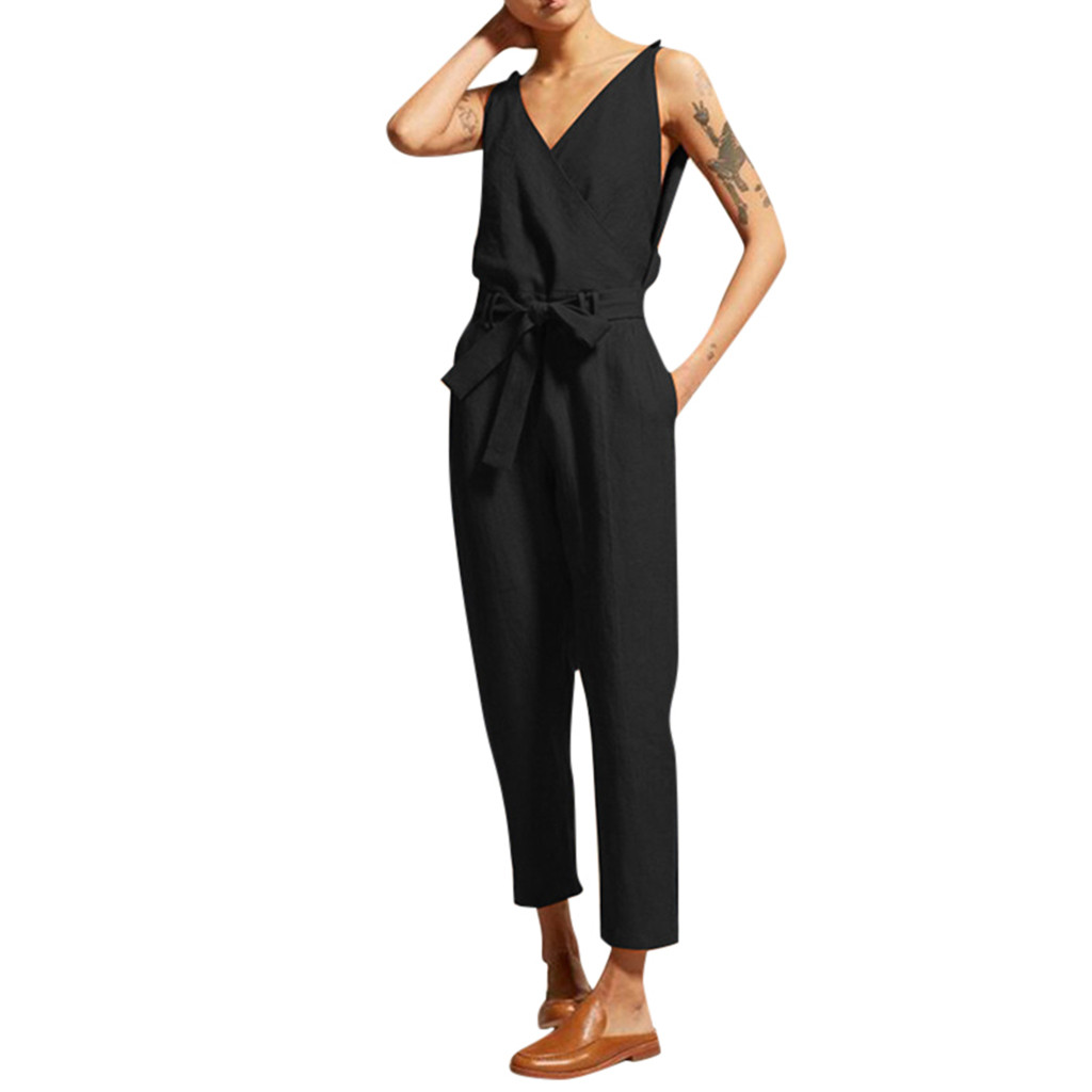 2019 MAXIORILL New Women's Casual Solid Sleeveless V-Neck Belt Slim Plus Size Linen Long   Jumpsuit   Wholesale T3