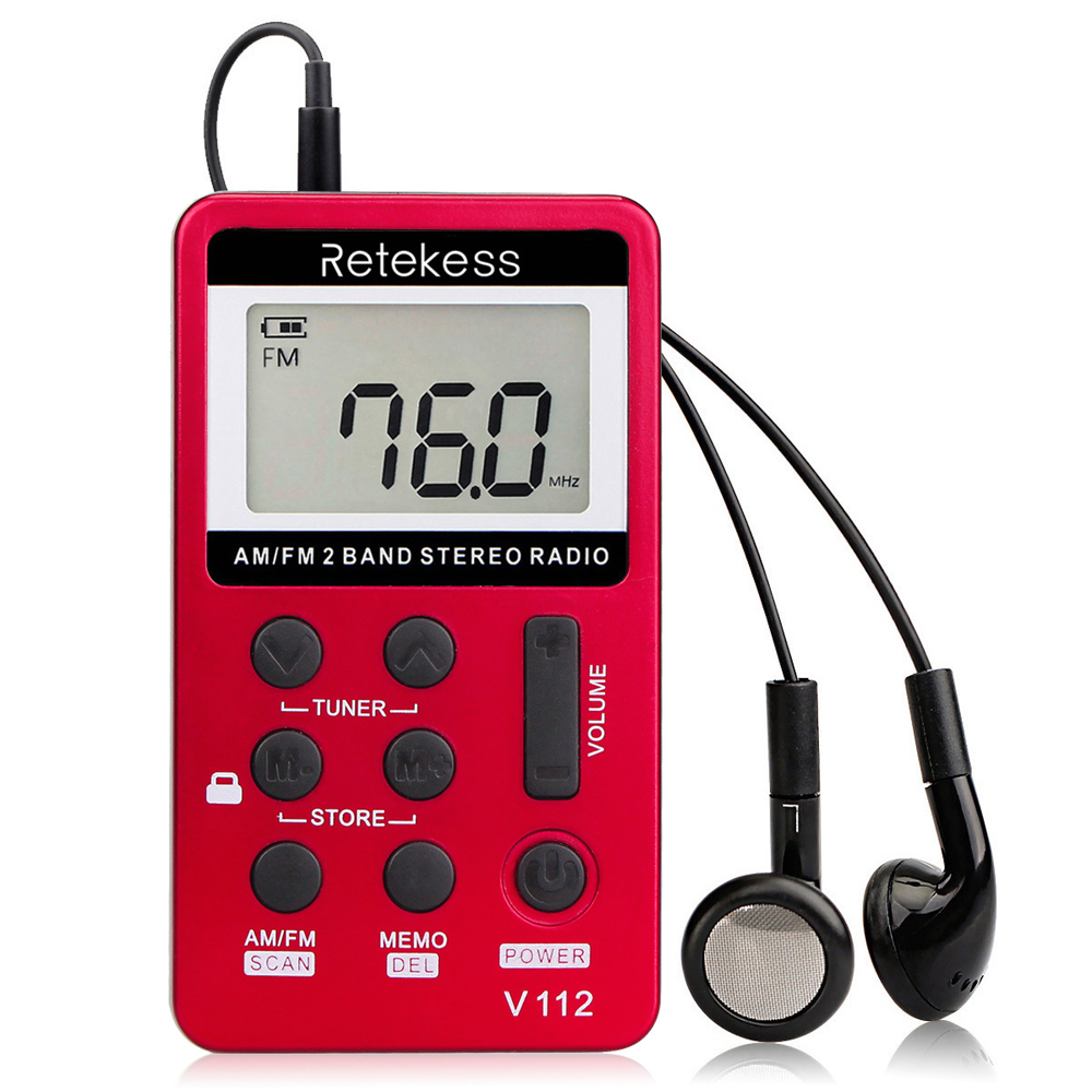 Radio Tragbares Audio & Video V-112 Tragbare Am/fm Stereo Radio Tasche Lcd Display Bildschirm 2 Band Digitales Tuning Radio W/kopfhörer Wiederaufladbare Batterie
