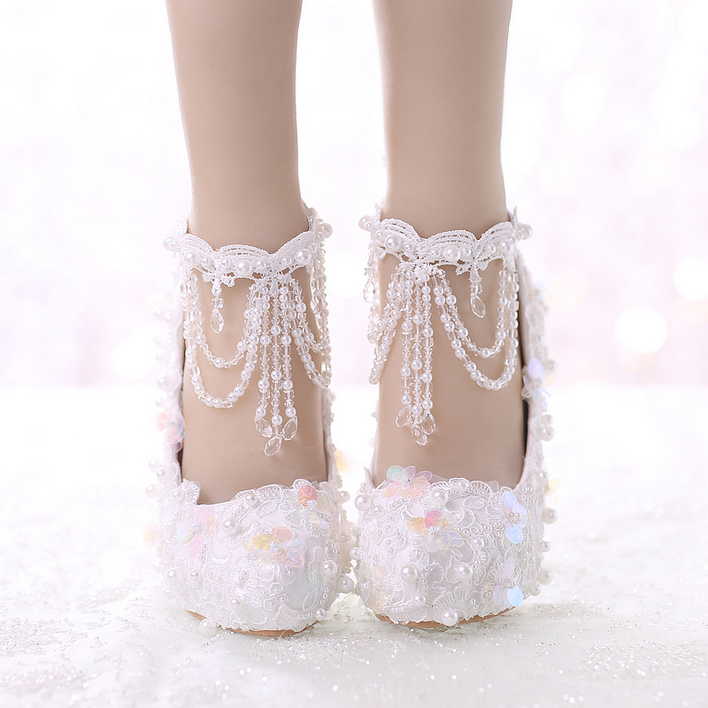 Crystal wedding shoes white lace bride shoes high-heeled a wristband red sequined waterproof ladies bling shoe