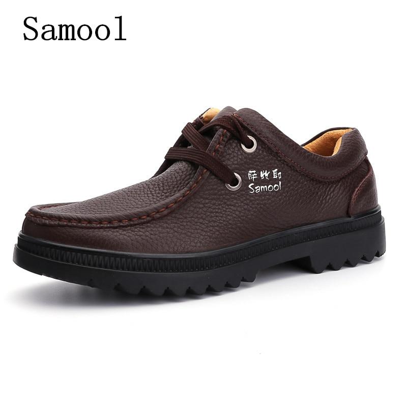 купить Men's High Quality Genuine Leather Casual Shoes Comfortable Work Leather Shoes Fashion Ankle Boot Men Shoes Autumn Botas Hombre дешево