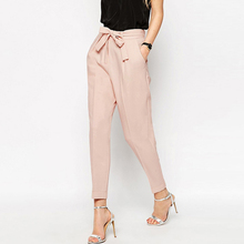 ФОТО cotton baggy bow tie pants women pink harem casual woman beach trousers loose hippie boho bandage capris pants summer 60k053