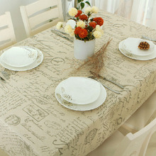 European Style Letter Printed Tablecloth Rectangle Cotton Linen Table Cloth Wedding Party Home Kitchen Dinner Tea Cover