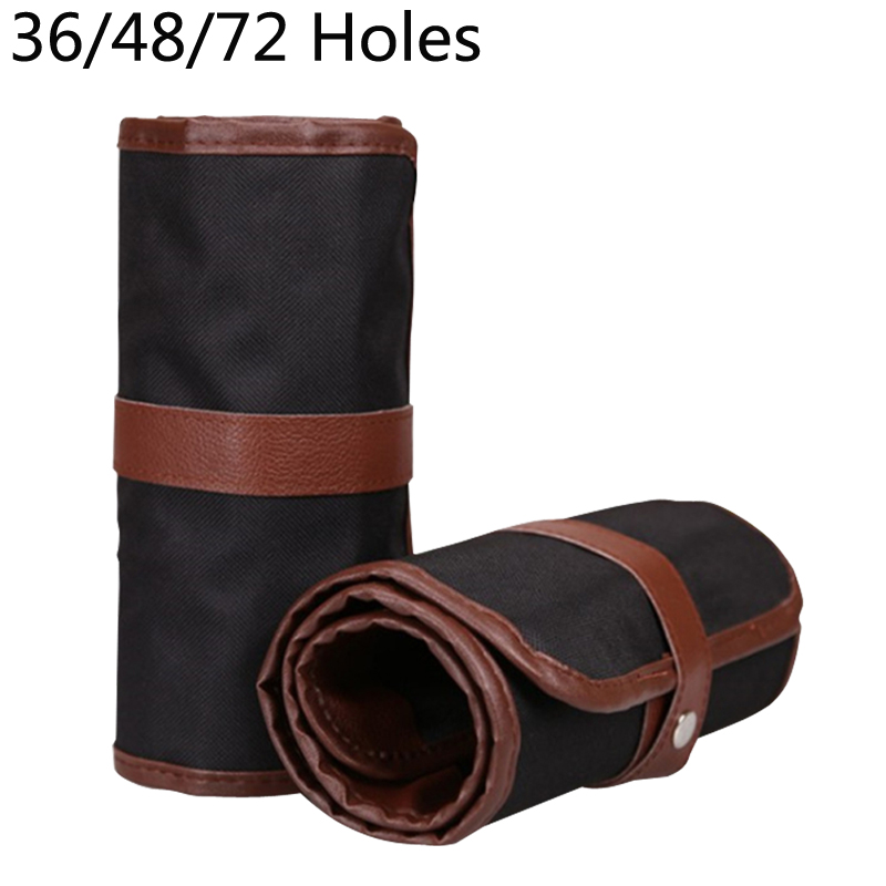 36/48/72 Holes Pencil Case Canvas Roll Pouch Comestic Makeup Brush Case Pen Storage Pen Box Estuches Pencilcase School Supplies good quality 36 48 72 holes canvas pencil case roll up sketch painting pen box school office pencil stationery bag b066