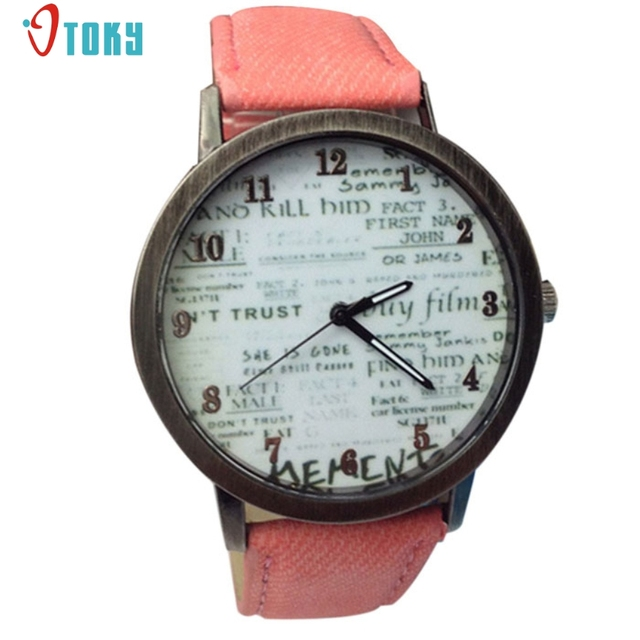 Fashion Men Woman Cowboy Fabric Band Quartz Wrist Watch Creative