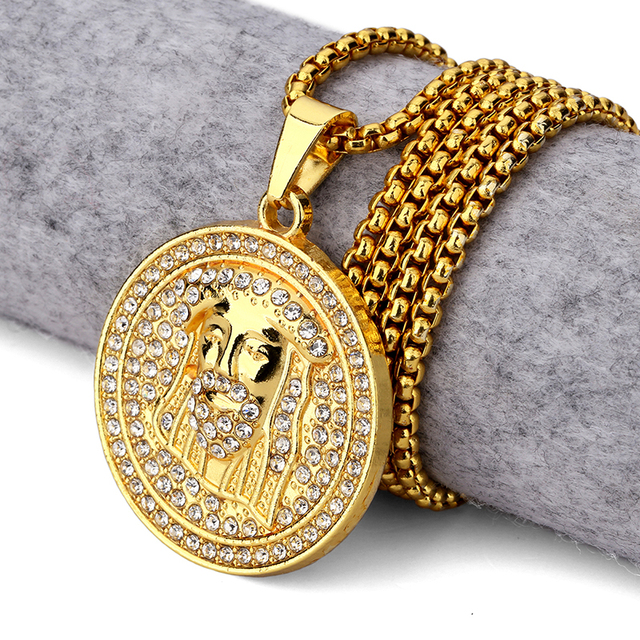 New golden round jesus head pendant necklace iced out medallion new golden round jesus head pendant necklace iced out medallion style christ head charm pendants rhinestone aloadofball Choice Image
