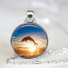 Dolphin Jewelry, Dolphin Photo Pendant Choker  Necklace Men Women, Ocean Jewelry, Fish Jewelry HZ1