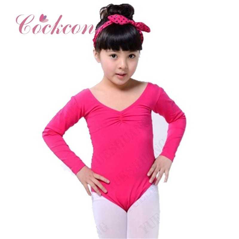 7ffafaff9 COCKCON Ballet Gymnastics Leotards Long Sleeve V-Neck Cotton Toddler Girls  Ballet Costumes Acrobatics Girls Dance wear 2018