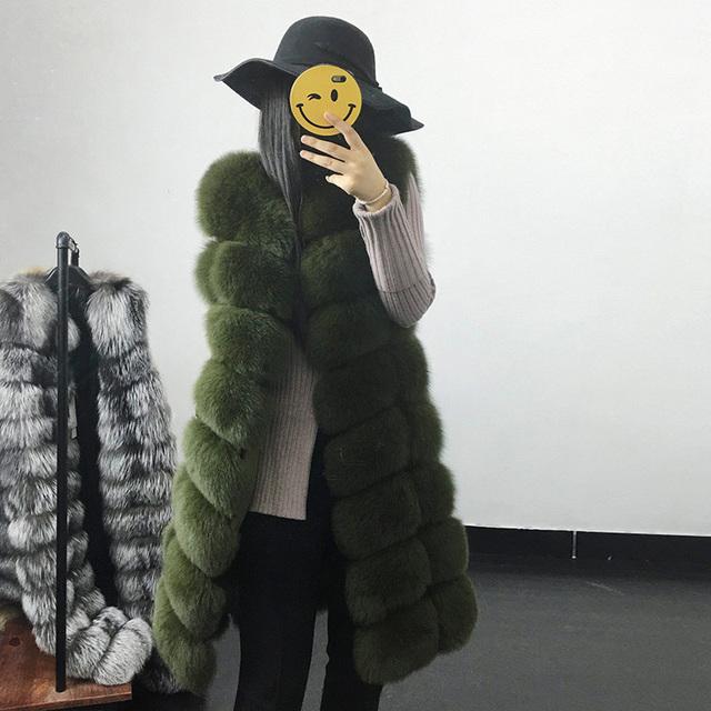 Faux Fur Coat Autumn Winter Women 2020 Fashion Casual Warm Slim Sleeveless Long Faux Fox Fur Vest Winter Pockets Jacket Women