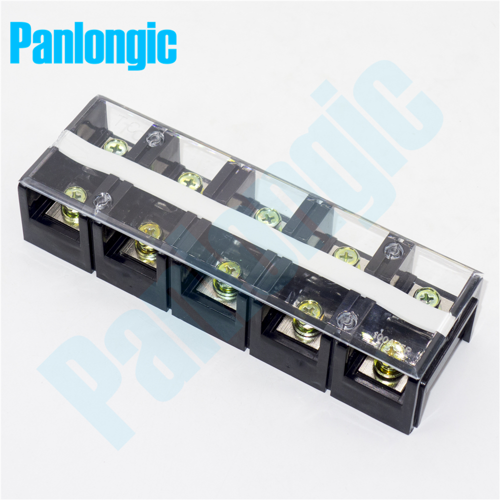 цена на Panlongic TC-1005 Dual Row Barrier Screw Terminal Block Wire Connector 600V 100A 5 Position 10 Screws Electric Brass