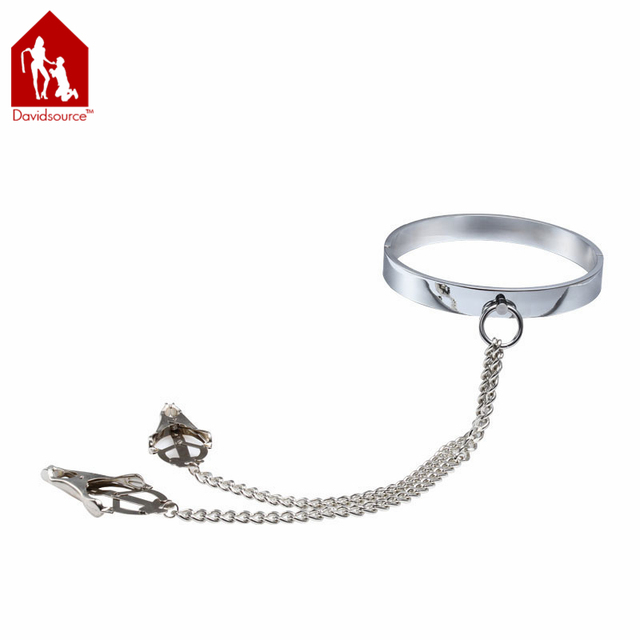 Davidsource Metal Neck Collar + Clover Clamps Lockable Restraint Kit Clips Slave Sex Product Sex Toy
