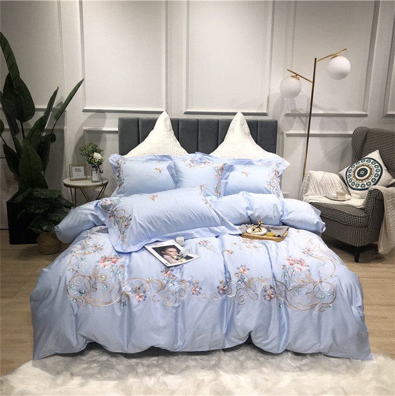 New Luxury Pastoral Flowers Embroidery 60S Egyptian Cotton Bedding Set Blue Pink Duvet Cover Bed Sheet Bed Linen Pillowcase 4pcs