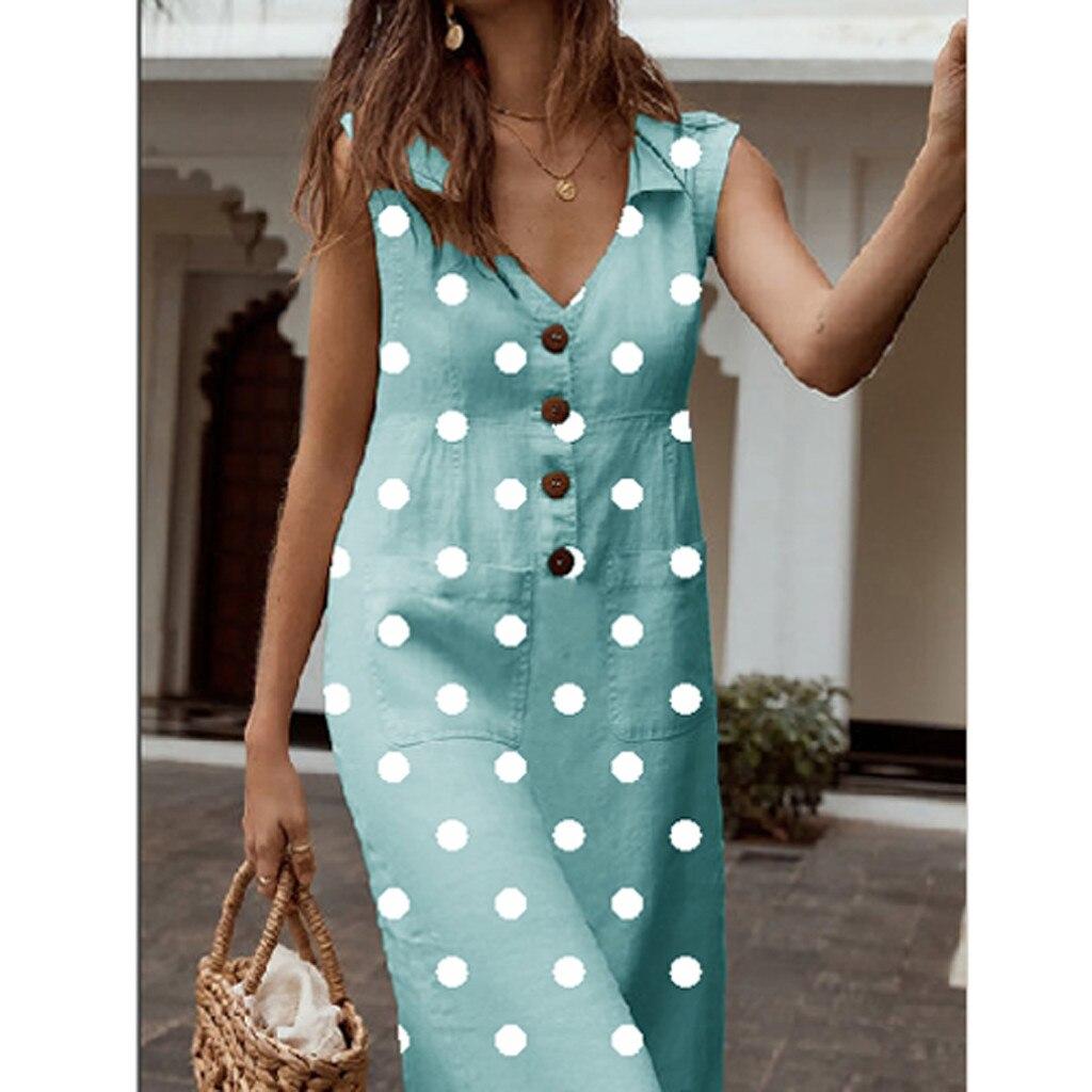 ALI shop ...  ... 33018870831 ... 4 ... Women's Elegant Polka-Dot Boho Mid-Calf Dress Turn-down V-neck Dress Button Pocket Summer Dress 2019 Dress #0516 ...