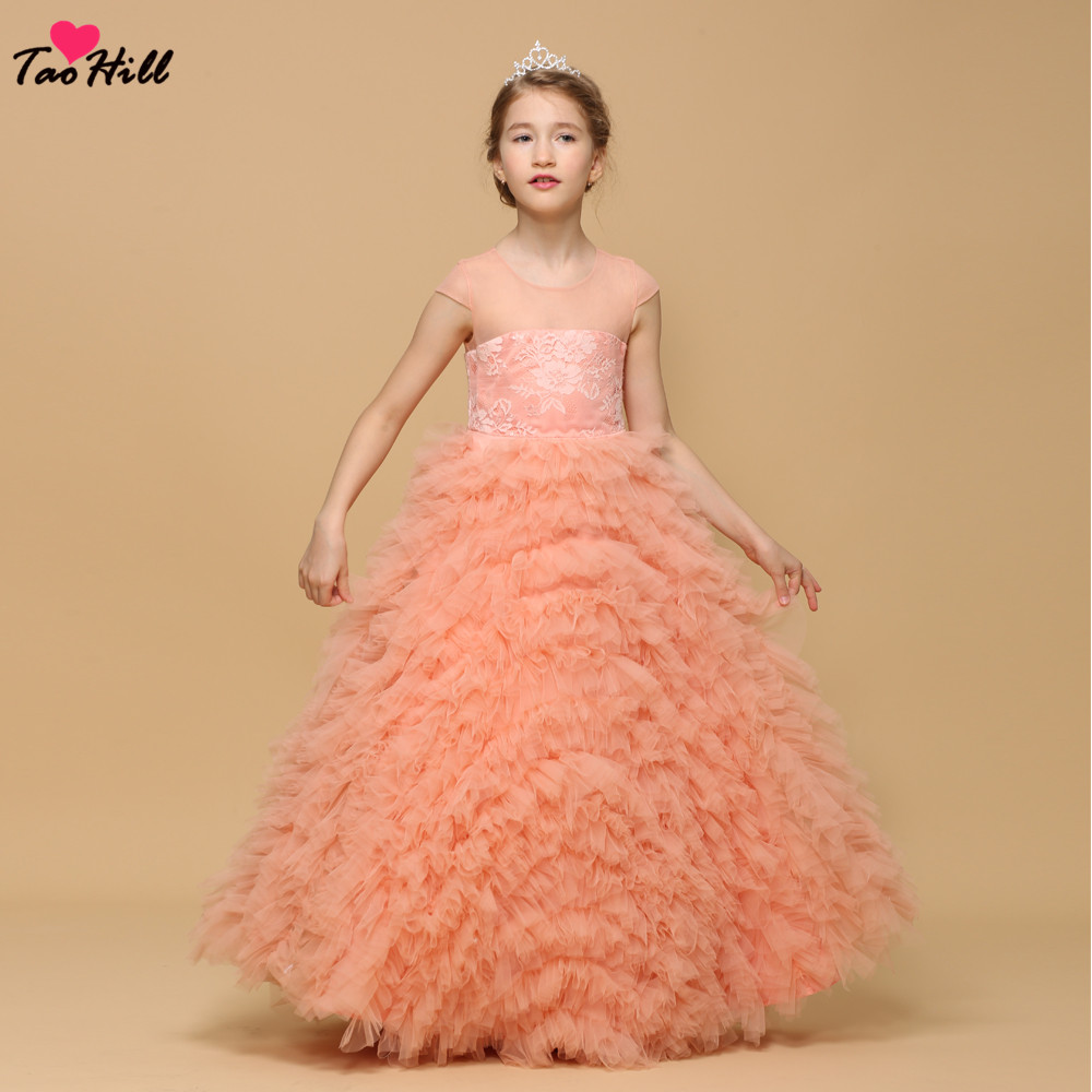TaoHill   Flower     Girl     Dress   Ruffles Kids Wedding Party Gowns Light Orange Robe De Soiree Lovey Princess   Dress   2019