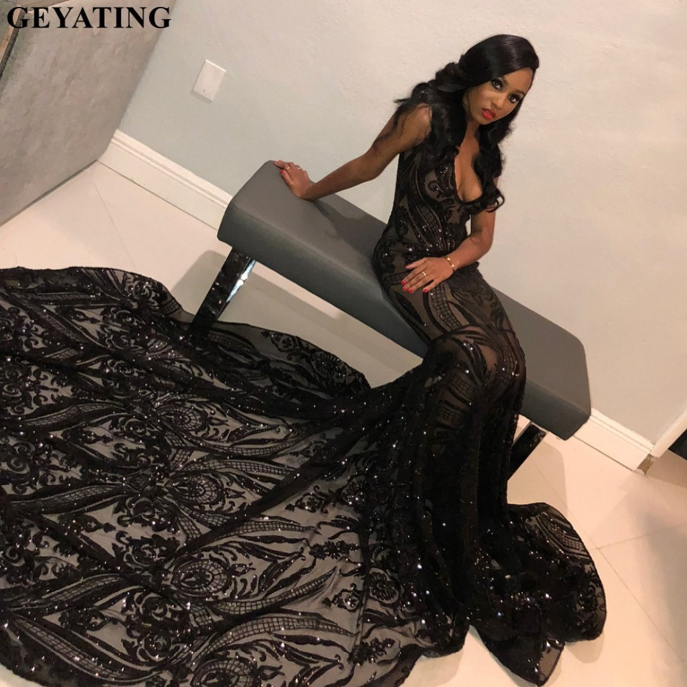 Luxury Sequin Black Mermaid   Prom     Dress   with Long Train Sexy V-Neck Illusion African Formal   Dresses   2k19 Plus Size Gala   Dress