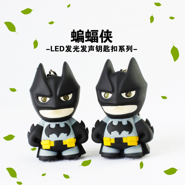 Fancy&Fantasy New Arrival Superhero Batman Led Keychain Flashlight Pendant Key Chain Cute Action Figure Keyrings Cool Gift