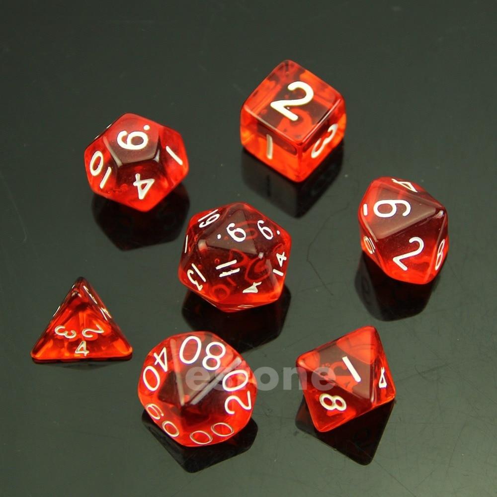hot 7 Red Sided Die D4 D6 D8 D10 D12 D20 MTG RPG D&D DND ...