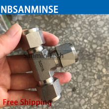 5 PCS / Lot Union Tee Stainless Steel SS316L Pneumatic Tube Fittings Plumbing Fitting Air High Quality Sanmin