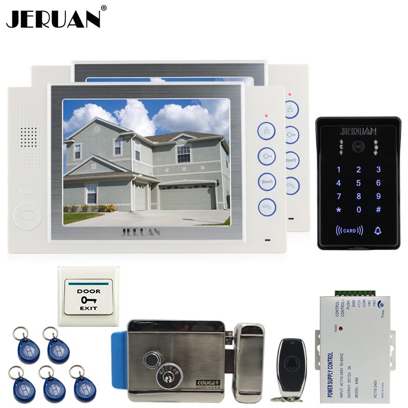 JERUAN 8`` video doorphone Record intercom system kit 2 monitor New RFID waterproof Touch Key password keypad Camera 8G SD Card jeruan 7 lcd video door phone record intercom system 3 monitor new rfid waterproof touch key password keypad camera 8g sd card