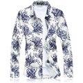 2016 floral camisa hombres chemise homme para hombre de alta calidad camisas M-5XL 6XL 7XL C6160 camisas sociales masculina