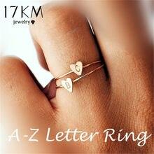 6f383f76c3db 17 KM de oro de moda de Color de plata corazón cartas anillos para las  mujeres DIY nombre anillo de mujer Declaración de comprom.