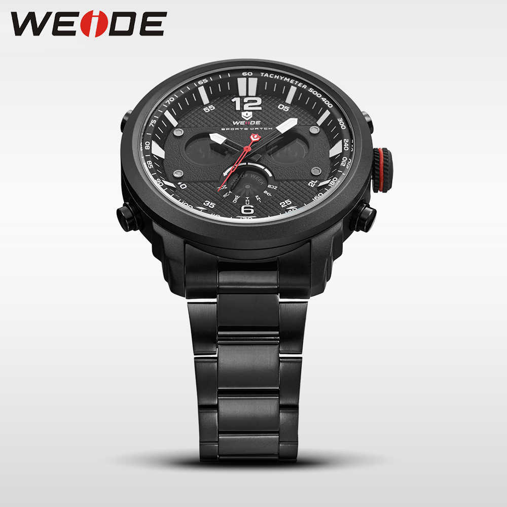 WEIDE מזדמן אמיתי גברים שעון יוקרה מותג ספורט דיגיטלי שעון נירוסטה steelin קוורץ שעונים מים עמיד שעון צבא